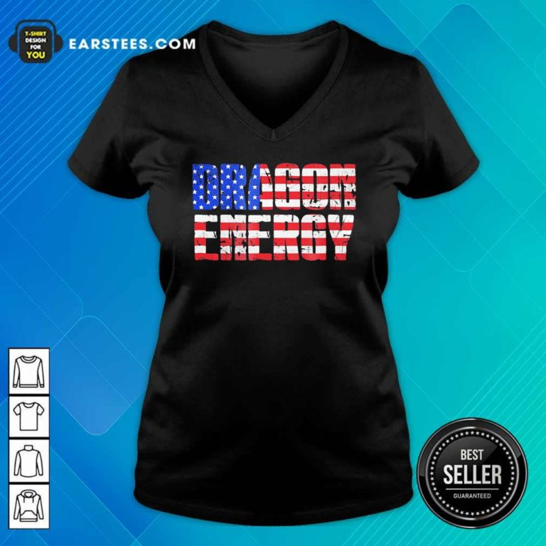 Dragon Energy American Flag V-neck - Design By Earstees.com