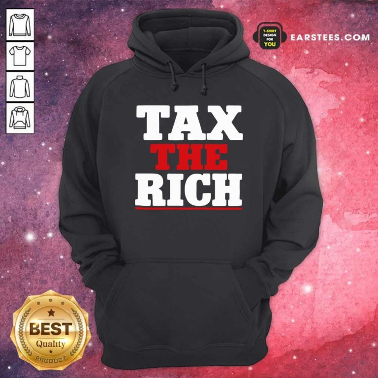 Tax The Rich Red White Hoodie - Design By Earstees.com