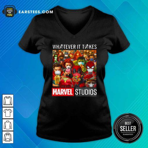 Whatever It Takes Marvel Studios Avengers Face Mask V-neck - Design By Earstees.com