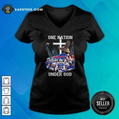 Buffalo Bills One Nation Under God American Flag V-neck - Design By Earstees.com