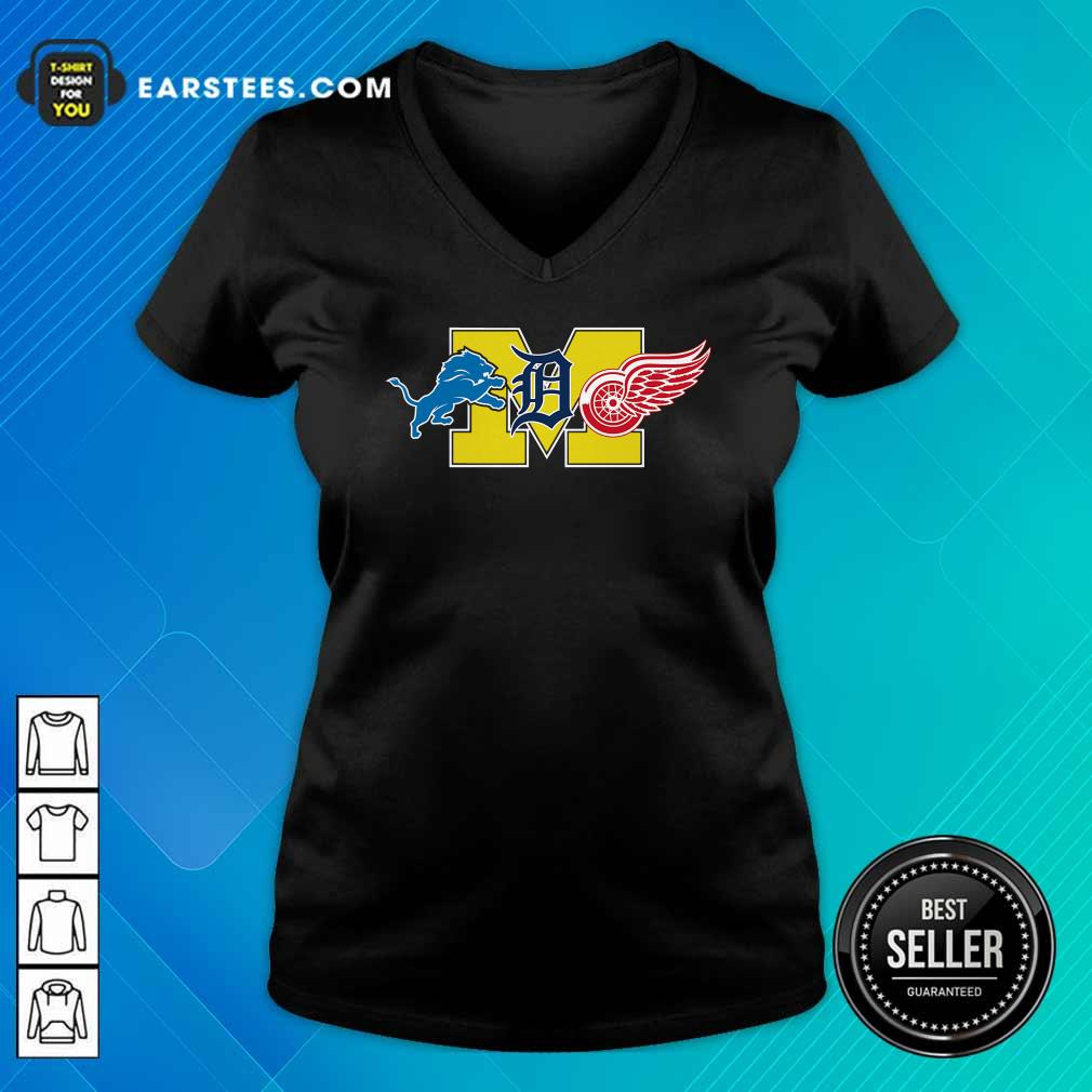Detroit Lions Detroit Red Wings Danville Blue Devils V-neck - Design By Earstees.com
