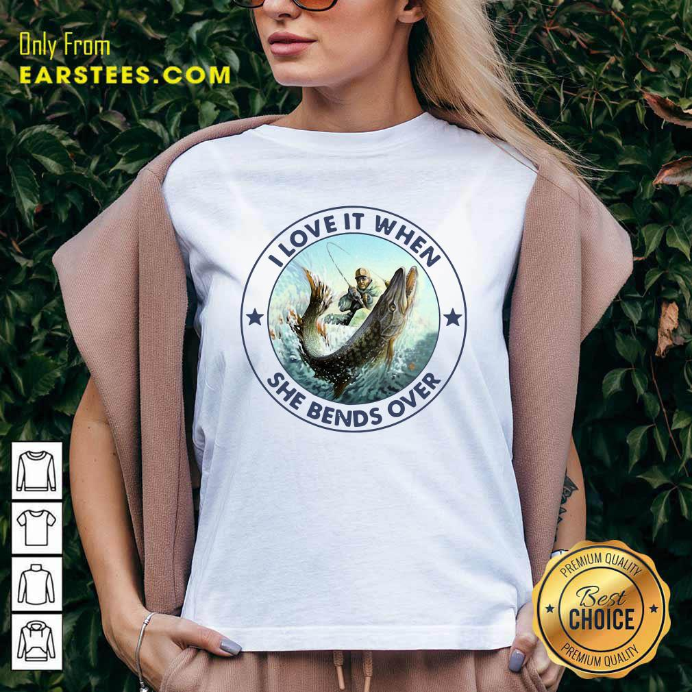 Fishing Papa Stickers I Love It When She Bends Over V-neck - Design By Earstees.com