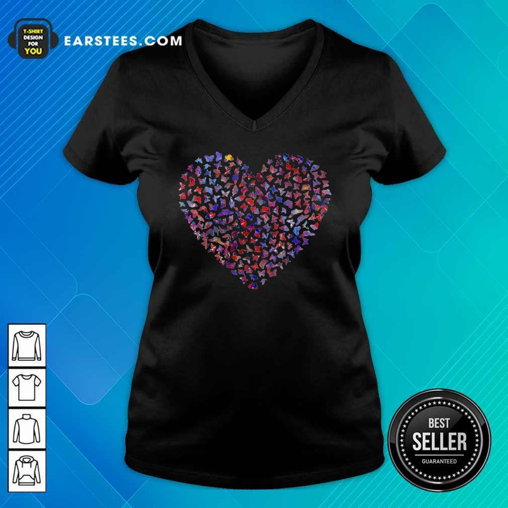 Heart Butterfly V-neck - Design By Earstees.com