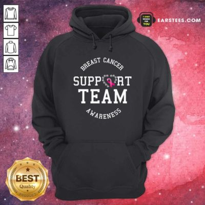 Breast Cancer Support Team Awareness Ribbon Pink Hoodie - Design By Earstees.com