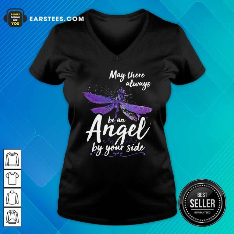 Dragonfly May There Always Be An Angel By Your Side V-neck - Design By Earstees.com