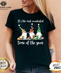 Hot Gnomes Light Its The Most Wonderful Time Of The Year Christmas V-neck - Design By Earstees.com