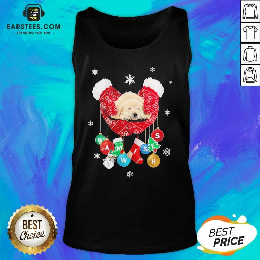 Hot Golden Retriever Warm Wishes Socks Christmas Tank Top - Design By Earstees.com