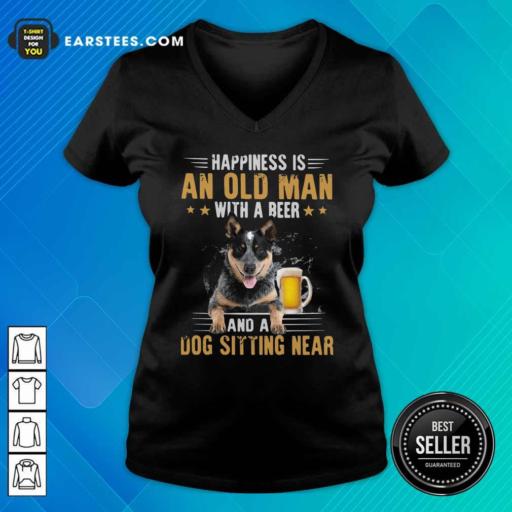 Happiness Is An Old Man With A Beer And A Dog Sitting Near V-neck - Design By Earstees.com
