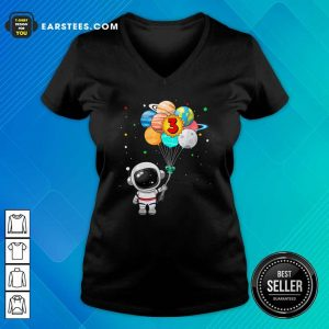 Happy 3rd Birthday Astronaut 3 Years Old Birthday V-neck - Design By Earstees.com