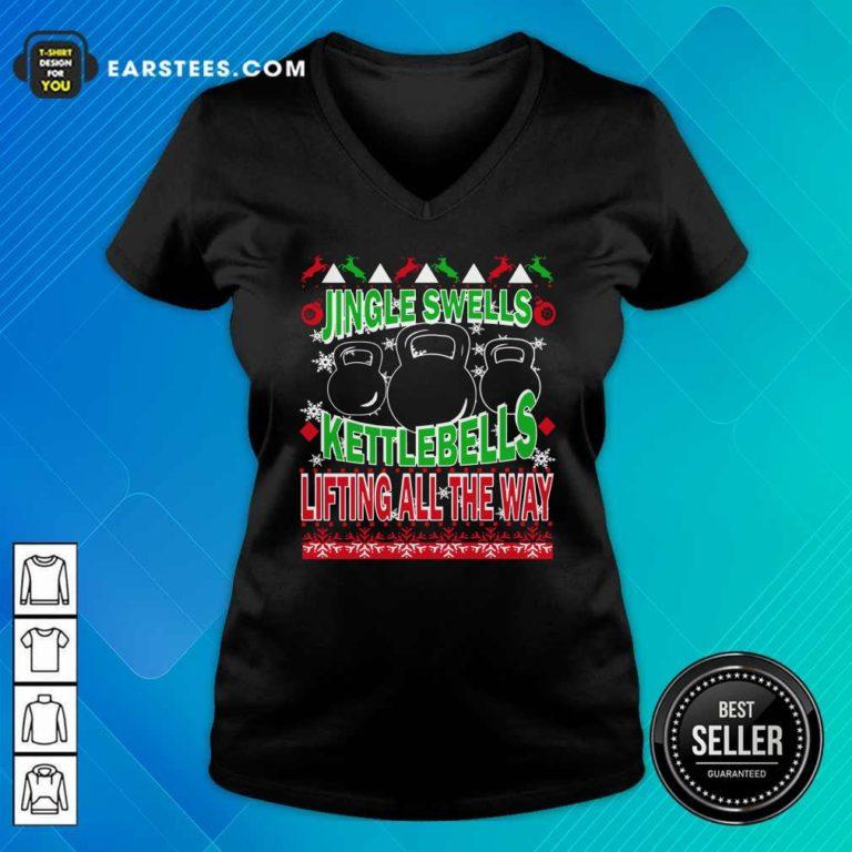 Jingle Swells Kettlebells Lifting All The Way Ugly Christmas V-neck - Design By Earstees.com
