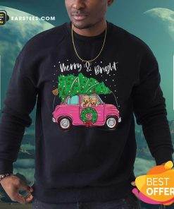 Merry And Bright Pitbull Dog Ugly Christmas Sweatshirt - Design By Earstees.com