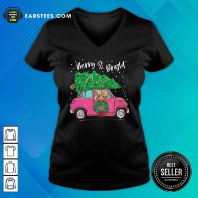 Merry And Bright Pitbull Dog Ugly Christmas V-neck - Design By Earstees.com