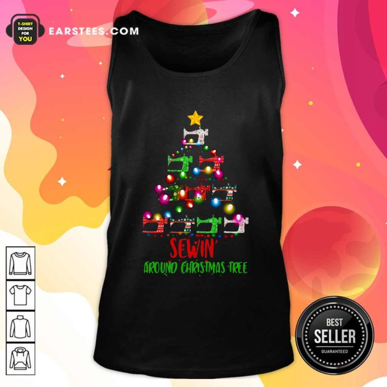 Sewing Around Christmas Tree Tank Top - Design By Earstees.com