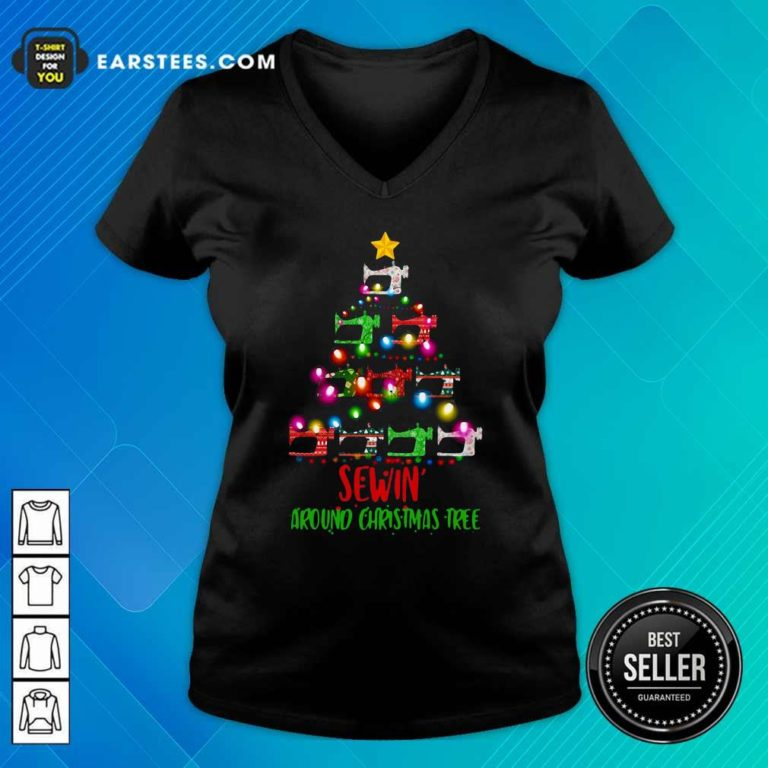 Sewing Around Christmas Tree V-neck - Design By Earstees.com