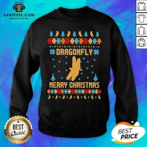 Nice Dragonfly Merry Ugly Christmas Sweatshirt - Design By Earstees.com