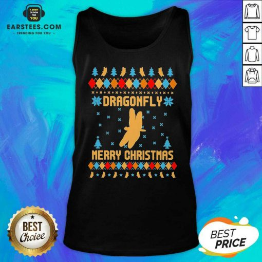 Nice Dragonfly Merry Ugly Christmas Tank Top - Design By Earstees.com