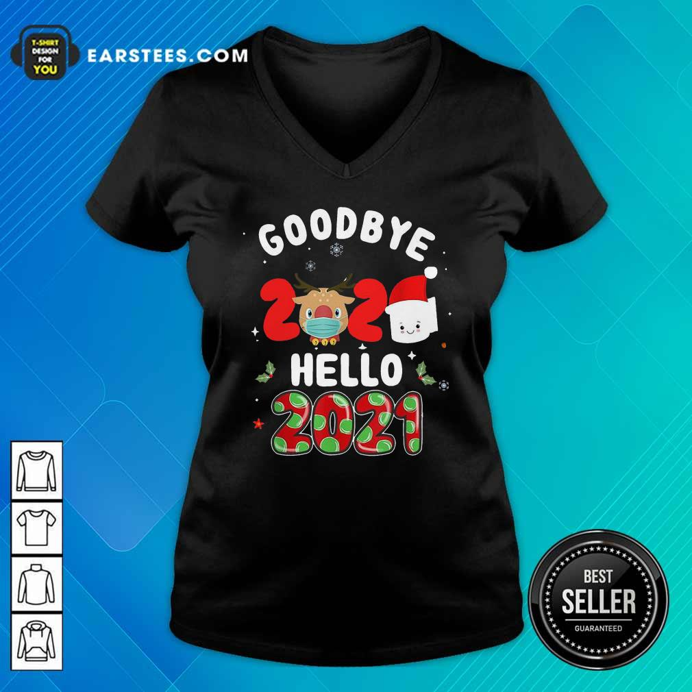 Goodbye 2020 Toilet Paper Santa Hello 2021 V-neck - Design By Earstees.com
