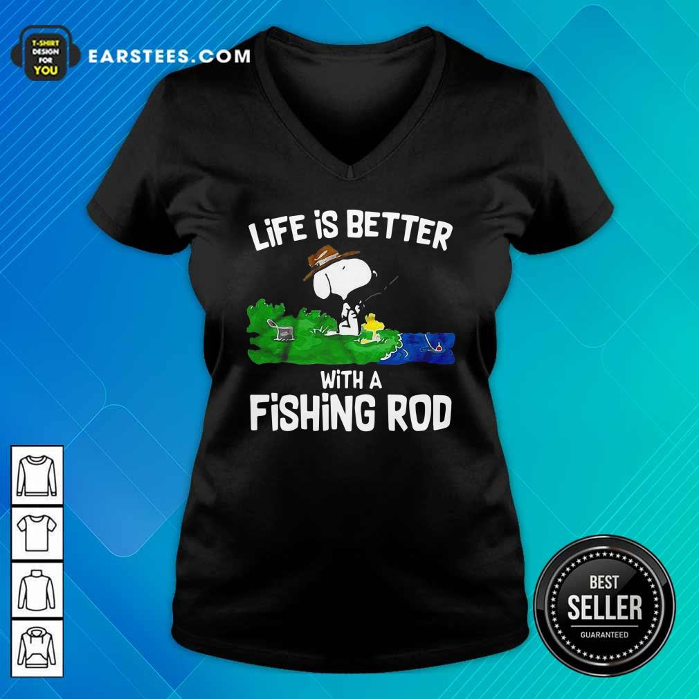Life Is Better With A Fishing Rod V-neck - Design By Earstees.com