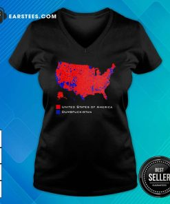 Republican Version United States of America Vs Dumbfuckistan Election Map V-neck - Design By Earstees.com