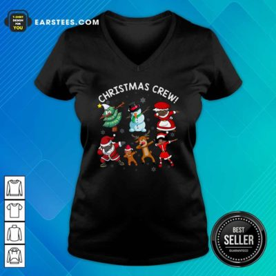 Santa Claus And Friends Dab Dance Dabbing Christmas Crew V-neck - Design By Earstees.com