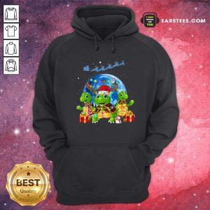 Three Turtle Santa Reindeer Merry Christmas Hoodie - Design By Earstees.com