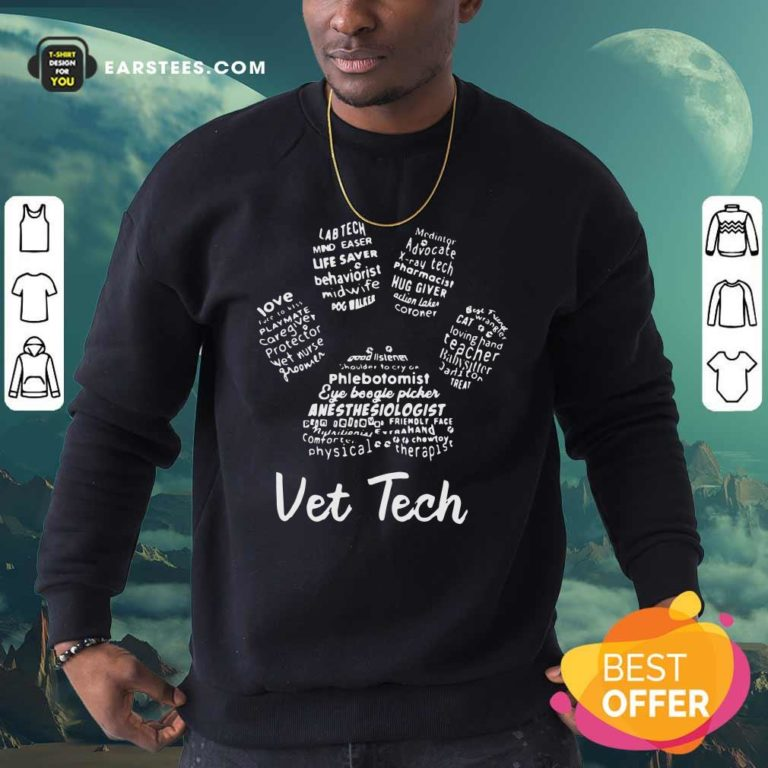 Vet Tech Paw Print Sweatshirt - Design By Earstees.com