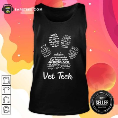 Vet Tech Paw Print Tank Top - Design By Earstees.com