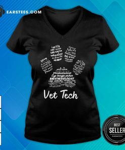 Vet Tech Paw Print V-neck - Design By Earstees.com