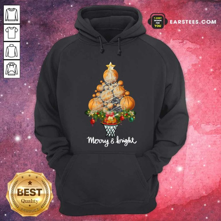 Volleyball Merry And Bright Christmas Tree Hoodie - Design By Earstees.com