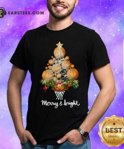 Volleyball Merry And Bright Christmas Tree Shirt - Design By Earstees.com