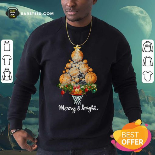 Volleyball Merry And Bright Christmas Tree Sweatshirt - Design By Earstees.com