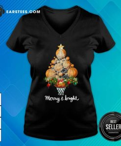 Volleyball Merry And Bright Christmas Tree V-neck - Design By Earstees.com