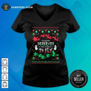 Everyone Deserves The Chance To Fly Christmas V-neck - Design By Earstees.com