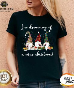 Official Gnomes Drink Wine Im Dreaming Of A Wine Christmas V-neck - Design By Earstees.com