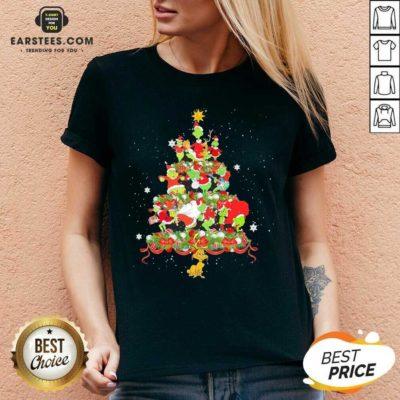 Official Grinch Santa Reindeer Christmas Tree V-neck - Design By Earstees.com