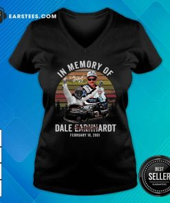 In Memory Of Dale Earnhardt February 18 2001 Signature Vintage V-neck - Design By Earstees.com