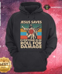 Jesus Saves Everyone Else Roll For Damage Vintage Retro Hoodie - Design By Earstees.com