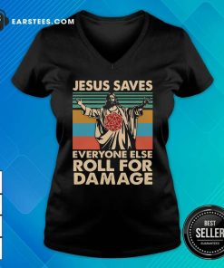 Jesus Saves Everyone Else Roll For Damage Vintage Retro V-neck - Design By Earstees.com