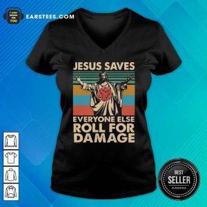 Jesus Saves Everyone Else Roll For Damage Vintage Retro V-neck - Design By Earstees.com