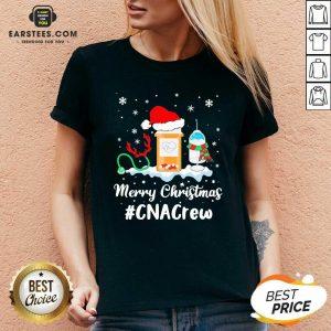 Nurse Santa Vaccine Merry Christmas #CNA Crew V-neck - Design By Earstees.com