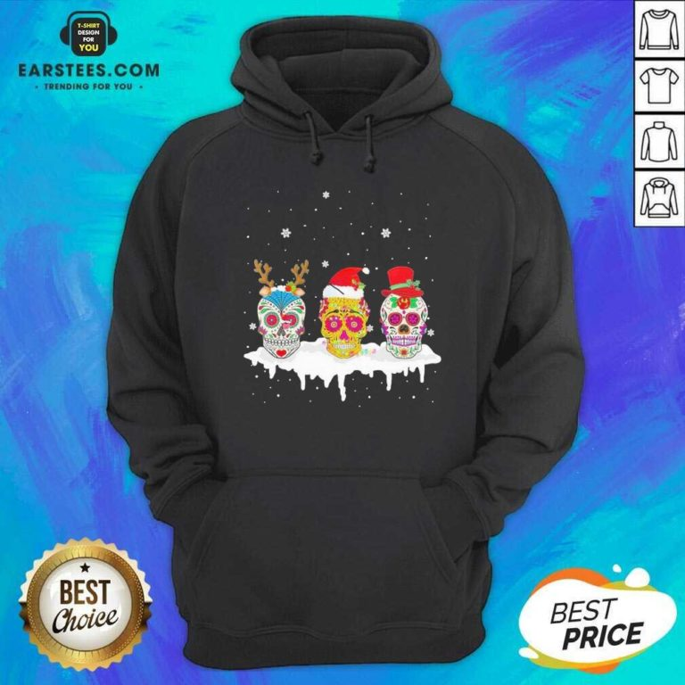 Official Sugar Skull Christmas Reindeer Santa Hat Xmas Hoodie- Design By Earstees.com
