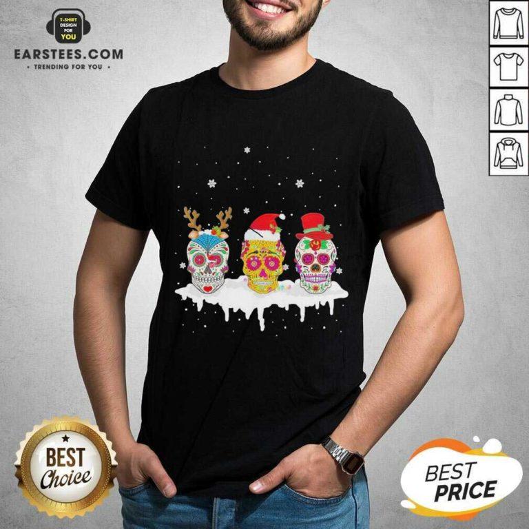 Official Sugar Skull Christmas Reindeer Santa Hat Xmas Shirt - Design By Earstees.com