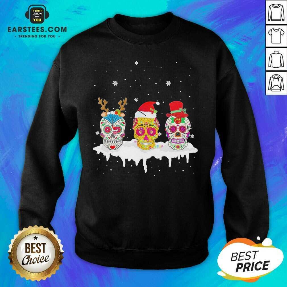 Official Sugar Skull Christmas Reindeer Santa Hat Xmas Sweatshirt- Design By Earstees.com