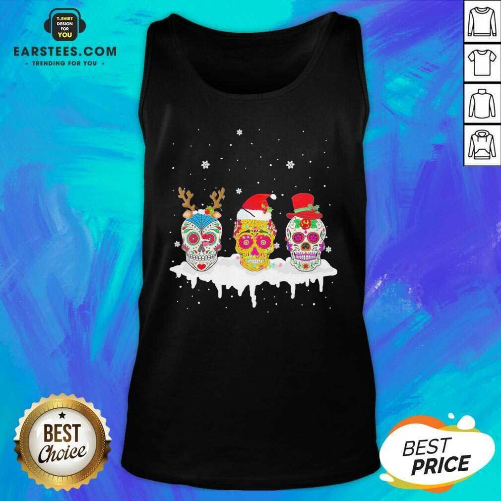 Official Sugar Skull Christmas Reindeer Santa Hat Xmas Tank Top - Design By Earstees.com