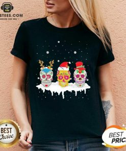 Official Sugar Skull Christmas Reindeer Santa Hat Xmas V-neck- Design By Earstees.com