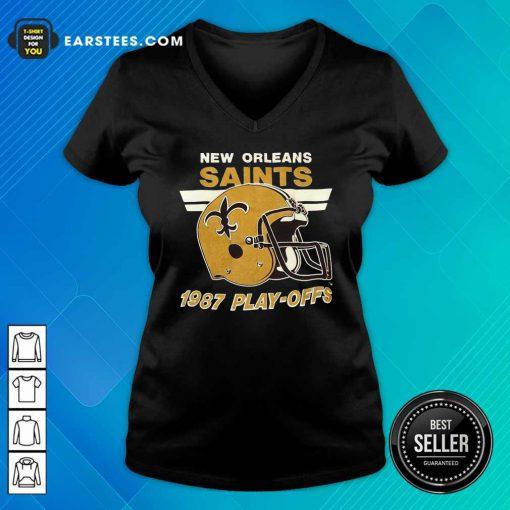 1987 New Orleans Saints Playoffs Vintage V-neck - Design By Earstees.com