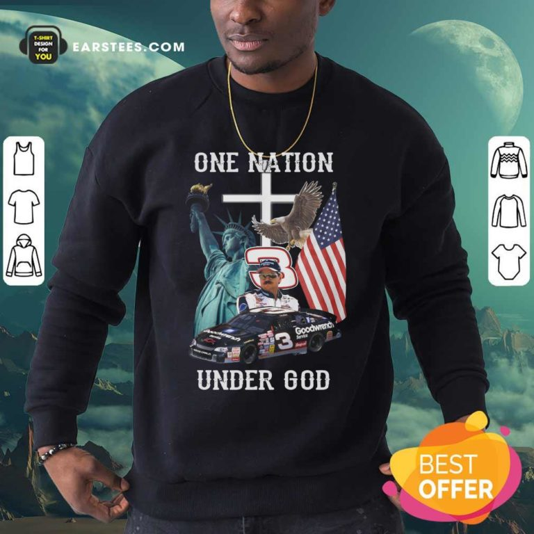 3 Goodwrench Dale Earnhardt One Nation Under God American Flag Sweatshirt - Design By Earstees.com