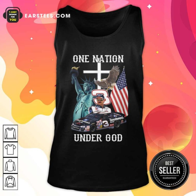 3 Goodwrench Dale Earnhardt One Nation Under God American Flag Tank Top - Design By Earstees.com