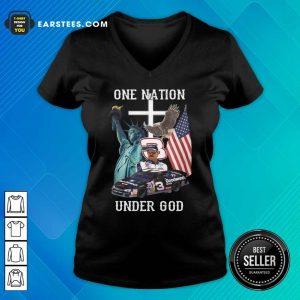 3 Goodwrench Dale Earnhardt One Nation Under God American Flag V-neck - Design By Earstees.com