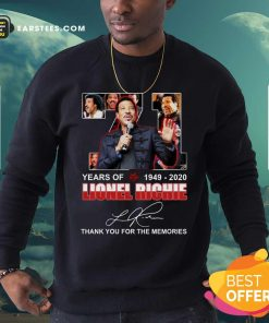 71 Year Of 1949 2020 Lionel Richie Signature Thank You For The Memories Sweatshirt - Design By Earstees.com